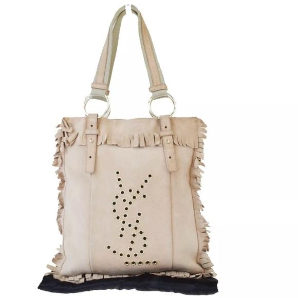 Yves Saint Laurent Handbags - YVES SAINT LAURENT Tote Shoulder Bag Suede Leather